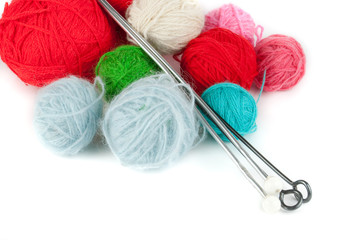 Different colors clews and knitting needles