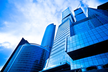 Dark blue skyscrapers
