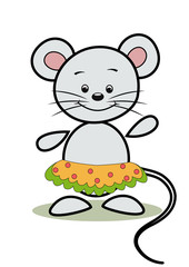 Funny mouse.  Cartoon. Vector  illustration.