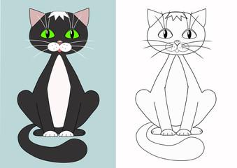 Cartoon cat. Coloring.