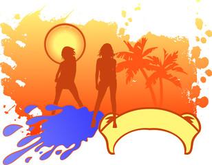 Girls Vacation Logo. vector illustration.