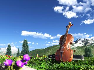 バイオリンと青空
