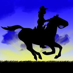 Horse rider at dusk