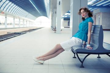 Attractive girl on railway station