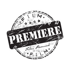 Film premiere grunge rubber stamp