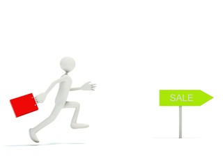 Running man with bag isolated on white