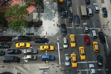 Foto auf AluDibond New York TAXI Vue de New York
