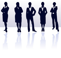 Silhouettes of vector businesswoman team.