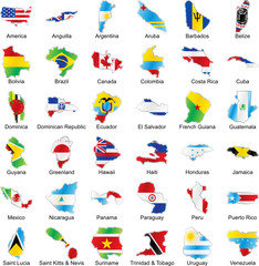 vector isolated american flags in map shape