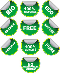 Set of green vector labels