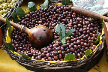 Black olives on farmer's market in Provence, france, Europe