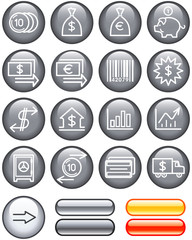 Finance, Banking Icon Set (Vector)