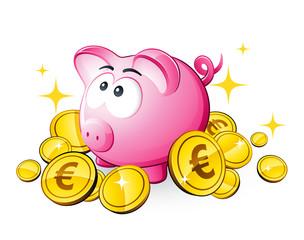 Cochon tirelire et économies euro