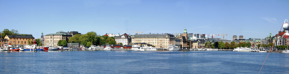 Printed kitchen splashbacks City on the water Panorama von Stockholm