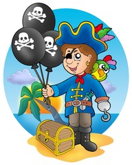 Foto auf Acrylglas Pirates Pirate boy with balloons on beach