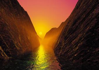 Fjord im Sonnenuntergang