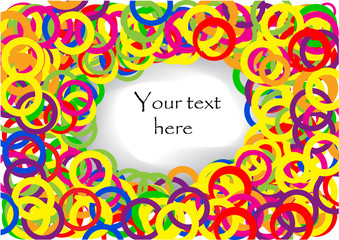 Confetti colorful background with text place in center; clip-art