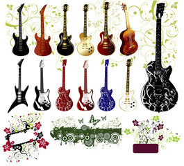 Collection of guitars and ornaments