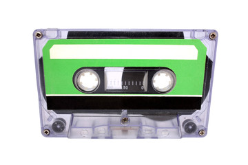Compact Cassette isolated on white. Front view