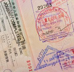 passport with thai and hongkong stamps