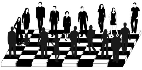 Illustration of business people and chess