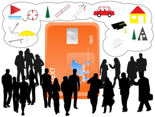 Illustration of people and banking card