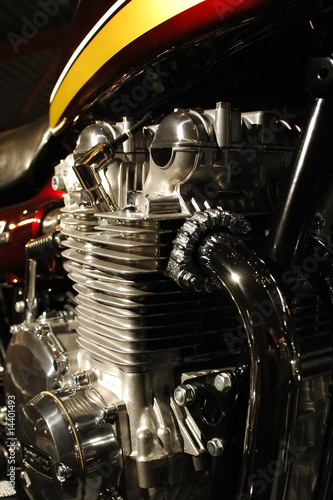 Wall mural performance motorcycle engine and exhaust close-up
