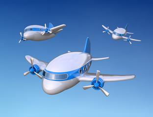 little cartoon style 3D airplanes illustration