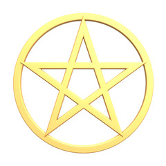 Gold pentagram isolated on white.