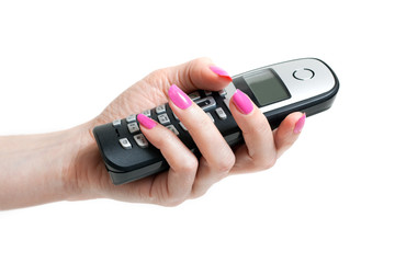 Feminine hand with telephon