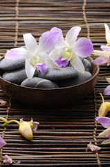 Pink orchid and therapy stones