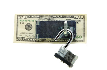 Padlock and US $50 Bill
