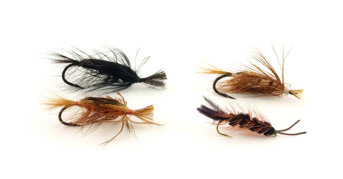 Four eastern steelhead trout flies