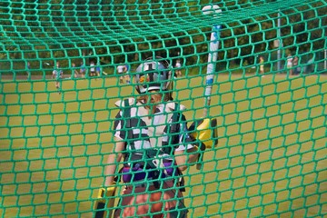 Hockey seen through net