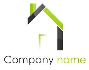Logo maison quadrilatères vert gris