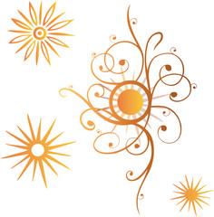 Bunte Sonnen, orange, Sommer