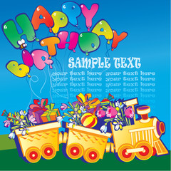 Happy birthday train carrying presents and sample text