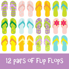 12 pairs of brighty colored flip flops - thongs