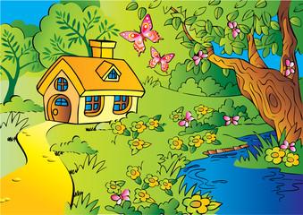 Fotobehang Kasteel Little house in woods