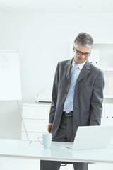Businessman standing at desk