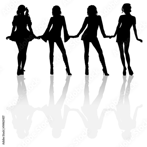 silhouette girls holding hands stock photo and royalty free images