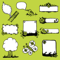 hand drawn frames in a nature theme