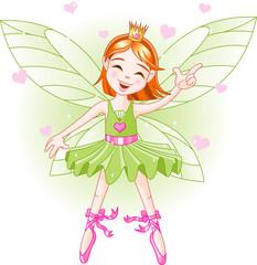 Keuken foto achterwand Magische wereld Cute green fairy ballerina flying
