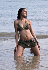 afrikan girl one the beach in southkorea