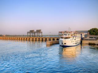 Cruise crossing Esna bridge, Egypt