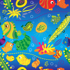 Seamless background with tropical fish
