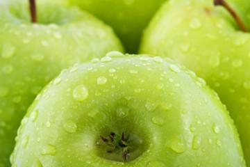 Waterdrops on green apple