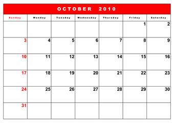 English calendar 12