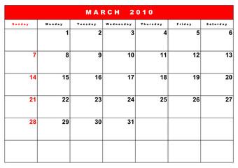 English calendar 3
