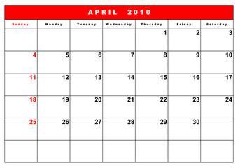 English calendar 2